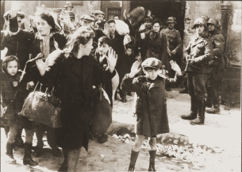 Jews captured by German troops during the Warsaw Ghetto uprising in April-May 1943.