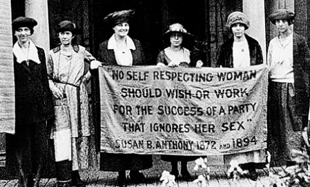 Women protesting during the Feminist Movement in 1920. Photo courtesy of the Alice Paul Institute.