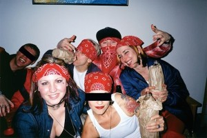 "Dartmouth College students at a ""Blood and Crips"" party. Photo courtesy of TheGloss.com."
